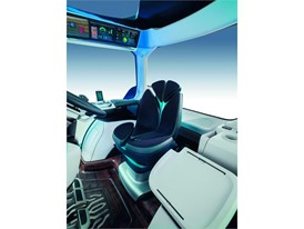 The technologically advanced cab features a seat which is reminiscent of the New Holland leaf and modern connectivity