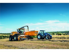 The Methane Power Concept tractor, here working in tandem with a FR Forage Harvester