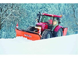 Case IH Maxxum Tractor working with a snow plough
