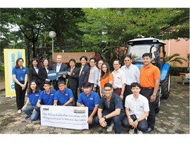New Holland Agriculture associates and KMITL students with the donated TT55 Tractor