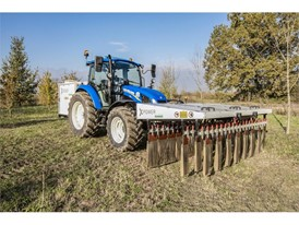 A New Holland tractor using XPower: zero-chemical weed control, through the use of electro-herbicide technology