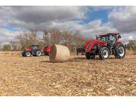 Maxxum 125 with RB565 round baler and Maxxum 145 with L105 loader