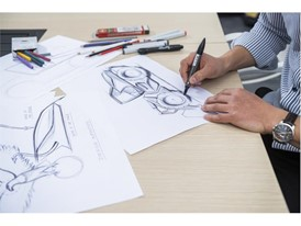 Hand sketching is used in the inital stages to provide a plurality of design ideas