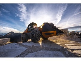 The methane powered concept wheel loader effortlessly tackles tough terrain