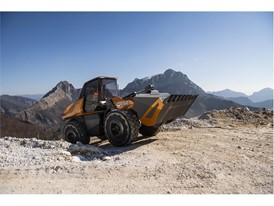 The methane powered concept wheel loader is exceptionally stable and can easily work on significant inclines