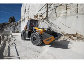 The methane powered concept wheel loader offers outstanding visibility in all operations
