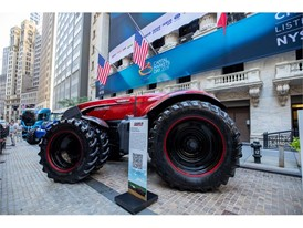 Case IH Autonomous Tractor in front of the NYSE