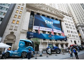 CNH Industrial displays its concept truck, tractors and construction vehicle in front of the New York Stock Exchange
