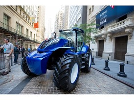 New Holland Methane-powered Tractor in front of the NYSE