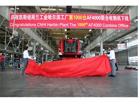 Case IH celebrates the 1000th Axial-Flow® 4000 Series combine manufactured in China