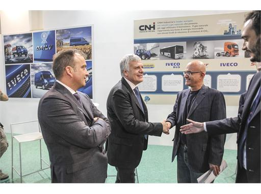 The Honourable Gian Luca Galletti, Italy's Minister of the Environment, Land and Sea, visits the CNH Industrial stand