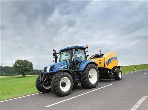 New Holland Roll Belt 150 CropCutter on the Road
