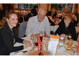 ECC '14 Gerhard Pfeffer, one of the sponsors, with young students at the Evening Event in Ettal