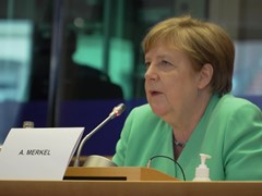 Angela Merkel participates in the EPP Group meeting in the European Parliament