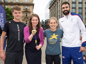 Marc Austin, Sports Minister Aileen Campbell, Jess Learmonth and Martyn Rooney.