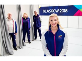 (L to R) Robert Myler (2018 Official) [Ayesha McGregor, David Gilmour (2018 Volunteer)] and Rebecca Adlington OBE