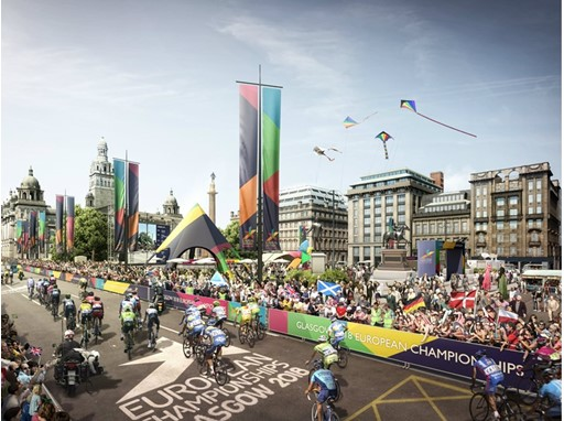 A glimpse of what the road race cycling at George Square will look like during the Glasgow 2018 European Championships
