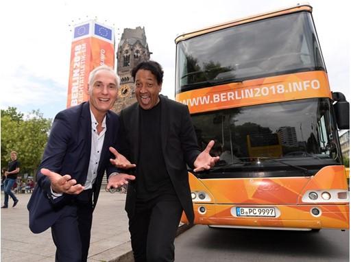 Berlin 2018 CEO Frank Kowalski and German TV personality Cherno Jobatey