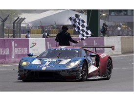 The 67 Ford GT crosses the line in second place at Le Mans