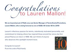 FILA USA's Lauren Mallon Named in SGB's 40 Under 40 List