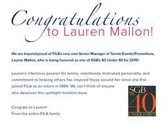FILA USA's Lauren Mallon Named in SGB's 40 Under 40 List