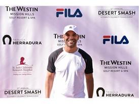 Amaury Nolasco Wears FILA at 12th Annual Desert Smash Charity Celebrity Tennis Event