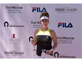 Emcee Jill Montgomery Wears FILA at the 12th Annual Desert Smash Charity Celebrity Tennis Event