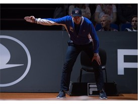 Tournament umpires of the Porsche Tennis Grand Prix in FILA apparel