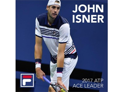FILA Sponsored Tennis Star John Isner is the 2017 ATP World Tour Ace Leader