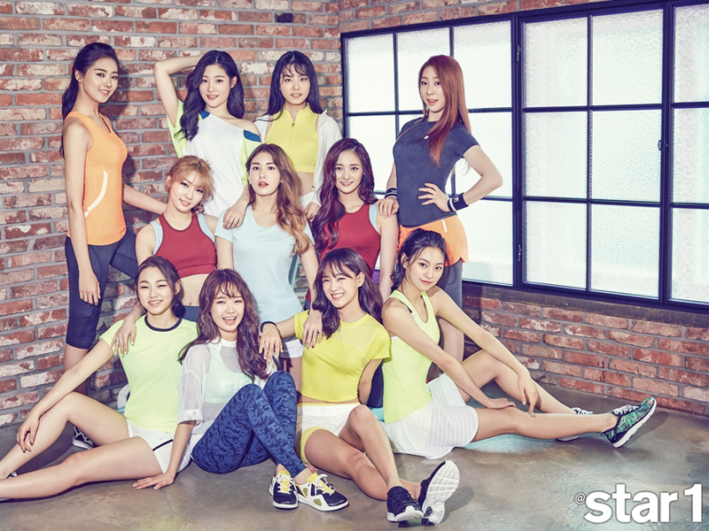 Girl band 'IOI'! pictured in Star 1 magazine wearing FILA Korea