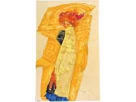 Gerti in front of Ochre-Colored Drapery, 1910
