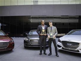 E. RAPHAEL, GM, GENESIS MOTOR AMERICA (LEFT), G. MORTIER-LAMB, VP, GLOBAL PRODUCT DEVELOPMENT, JD POWER (RIGHT)