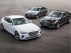 GENESIS G70 (LEFT FRONT), G80 (RIGHT MIDDLE) AND G90 (CENTER REAR) LUXURY PERFORMANCE SEDANS