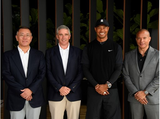 HYUNDAI MOTOR GROUP EXECUTIVE VICE CHAIRMAN EUISUN CHUNG, PGA TOUR COMMISSIONER JAY MONAHAN, TOURNAMENT HOST TIGER WOODS
