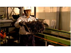 Pyrolysis of waste tires produces carbon black and nylon fibers
