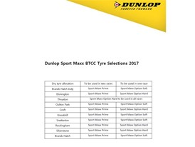 Dunlop has revealed the 2017 BTCC tyre choices
