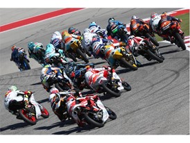 Close race action in Moto3 in America