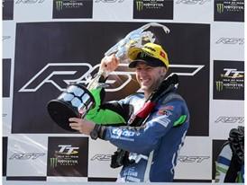 Ian Hutchinson celebrates RST Superbike victory