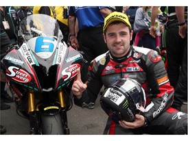 Michael Dunlop celebrated victory in Supersports at TT