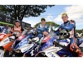 Ian Hutchinson and Peter Hickman first and second in Supersport