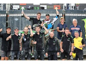 Dunlop's Eddy Seel celebrates with Kawasaki Racing Team