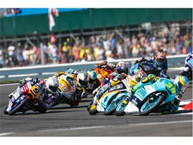 Close racing across the Moto3 race, 17 riders vying for the win