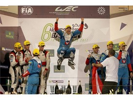 Champion Bruno Senna jumps for joy on LMP2 podium in Bahrain