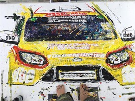 An example of Ian Cook's previous work painted with a Dunlop road tyre
