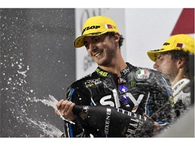 Francesco Bagnaia enjoying his first Moto2 victory