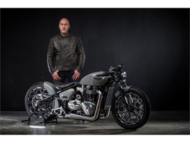 Fred Krugger and his latest masterpiece - The reimagined Triumph Bonneville Bobber 1200