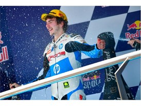 Lorenzo Baldassarri celebrates his Moto2 victory in Spain