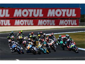 Moto3 race action continues to be fast-paced