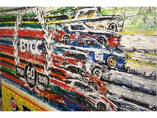 The artwork was created by Ian Cook of Popbangcolour using tyres instead of paintbrushes