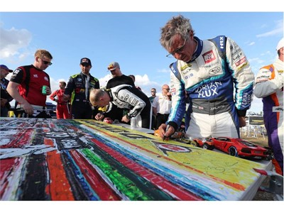 Jason Plato, double BTCC champion and holder of the most race wins, is among those who signed the artwork